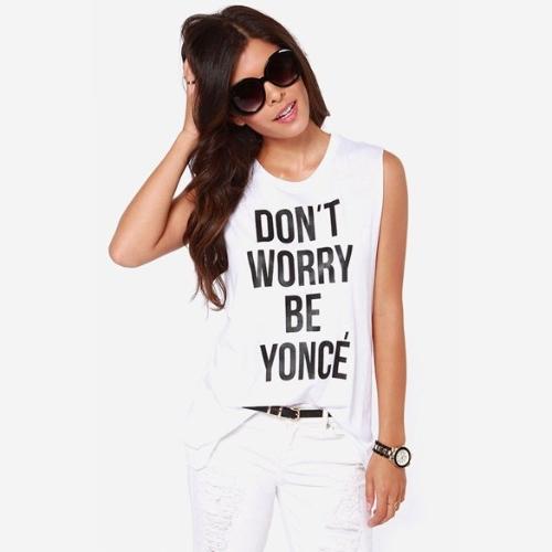 Mulheres Casual Carta Imprimir Branco O-neck mangas T-shirt de alças