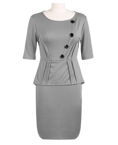 Womens Vintage Elegant Tunic Half Sleeve Peplum Wear To Work Party Bodycon Pencil Dress