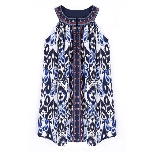 Stylish Lady Women's New Fashion Retro Print Sleeveless O-neck Loose Tank Dress