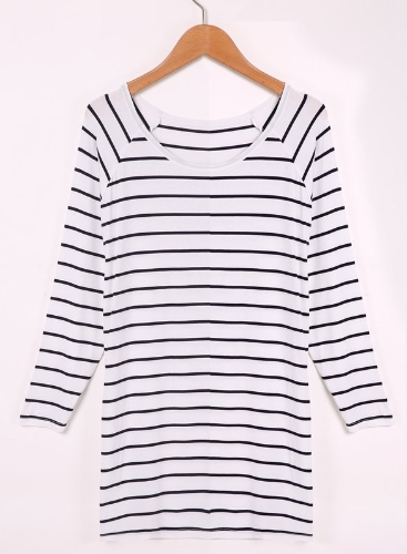 New Fashion Women O-Neck Long Sleeve Casual Loose Striped T-Shirt Tops Blouse