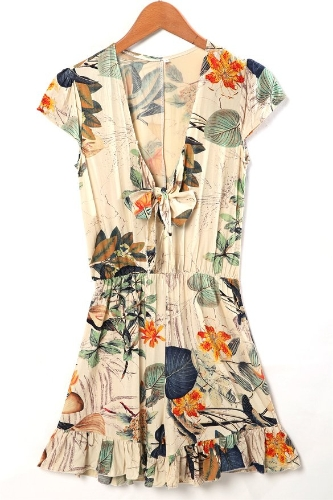 Women's Sexy Fashion Flouncing Romper Straps Print Overall Jumpsuit