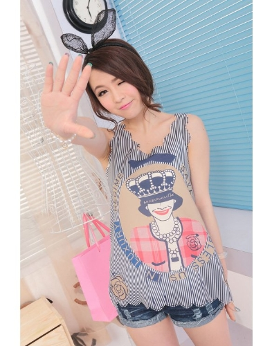 Women's Casual Summer Graphic Printed Sleeveless Chiffon Tank Tops