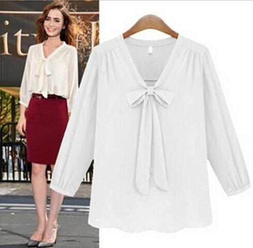 Stylish Lady Elegant Women's Casual Fashion 3/4 Sleeve V-neck Chiffon Bowknot Blouse Shirts Tops