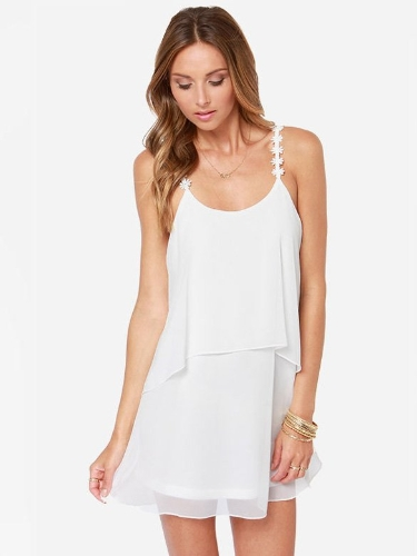 Sexy Women's Casual Strap Sleeveless U-neck Backless Layer Chiffon Mini Beach Party Dress Sundress