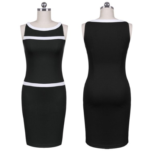 Fashion Lady Women Slash Neck Sleeveless Pencil Dress Slim Cocktail Party Dress