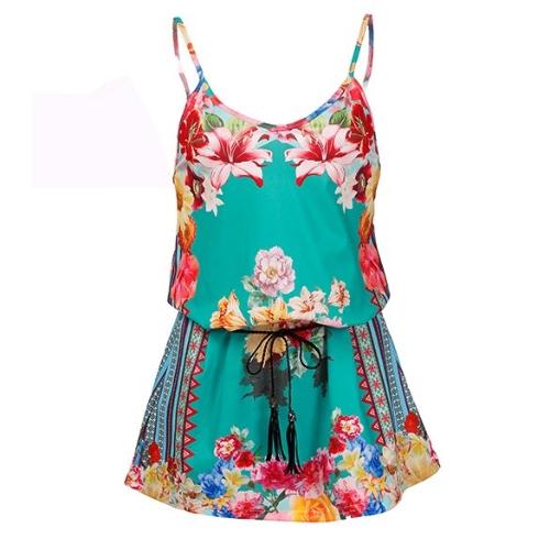 Stylish Lady Women Vintage Style V-Neck Strap Floral Belt Decor Casual Club A-Line Dress