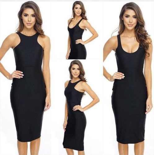 Fashion Women Summer Casual Slimming Sexy Vest Dress Pencil Elastic Sleeveless Long Dress