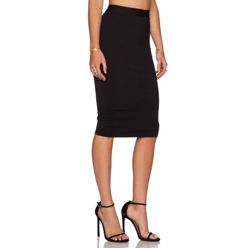 Fashion Lady Women Sexy Elastic High Waist Pure Color Back Zipper Stretch Bodycon Pencil Skirt