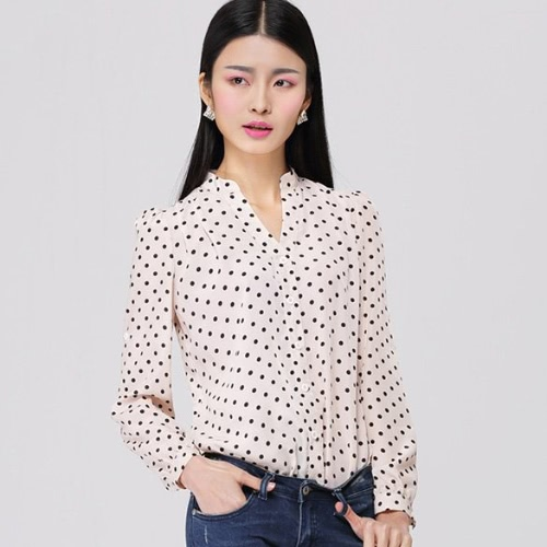New European Women's Girl Long Sleeve Dot Pattern Lapel Loose Blouse Shirt