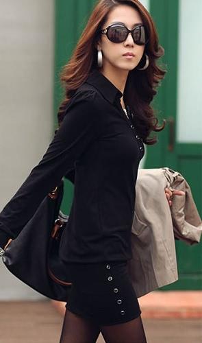Punto cuello botón superior bolsa de manga larga de la cadera Mujeres \ 's delgado del mini vestido S ~ XL