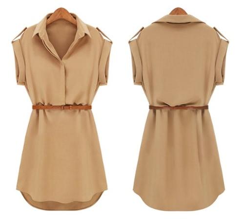 Cap manga elástica gasa camisa Casual Mini vestido nueva moda de la mujer con cinturón