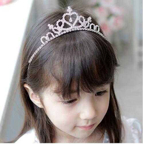 Cute princess pasma włosów Tiara Dla dzieci Dziewczyna Dzieci Opaska Srebrny Rhinestone