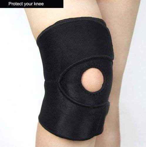 新しい 2 PC 膝圧縮スリーブ オープン膝蓋骨膝蓋骨カバー ブラック