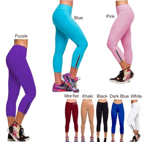Medias de las mujeres Capri Pantalones de cintura alta Operando recortada polainas aptitud M-XL