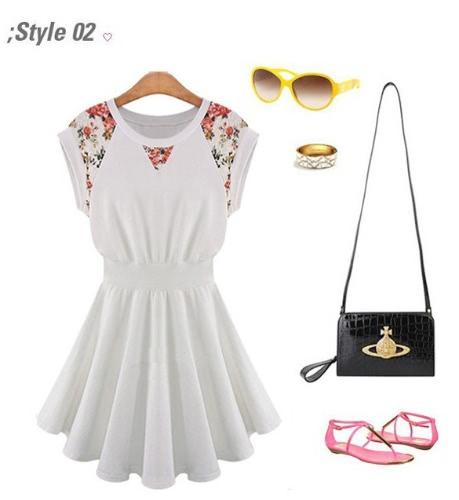 Spring Women's Round Collar Lace Shoulder Sleeveless Slim Mini Dress