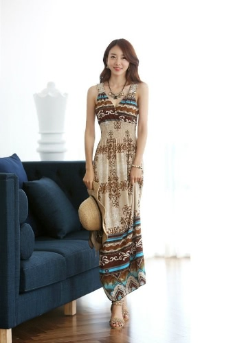 New Maxi Lace Back Sexy Women Summer Bohemia V-Neck Long Beach Dresses