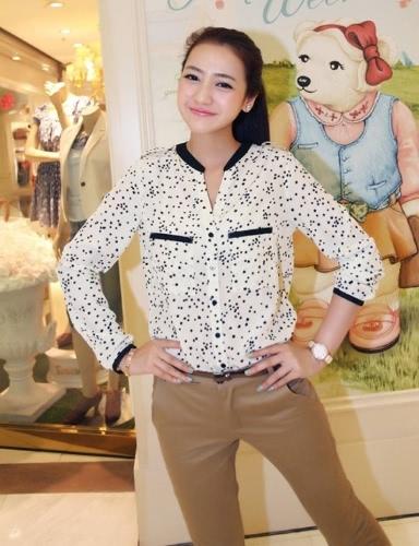 New Fashion Women's Stars Leopard Printed Shirt Chiffon Long-sleeved Blouse Top