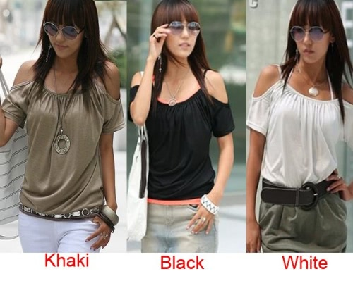 Sexy Women's Girl Japan Style Hollow Shoulder T Shirt Blouse Tops