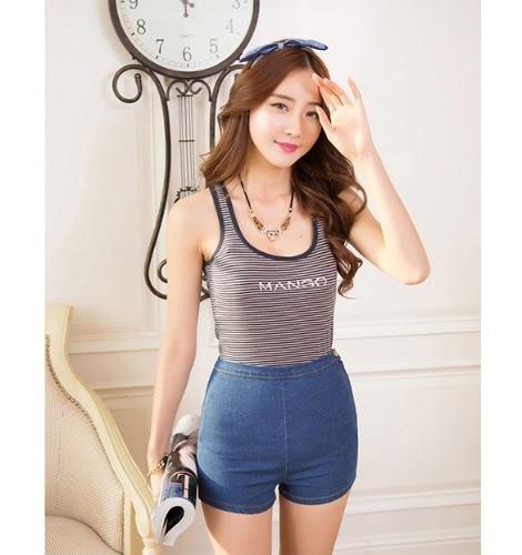 Pantalones del nuevo verano de las mujeres adelgazan la alta cintura de los pantalones vaqueros del dril de algodón caliente apretado un botón lateral
