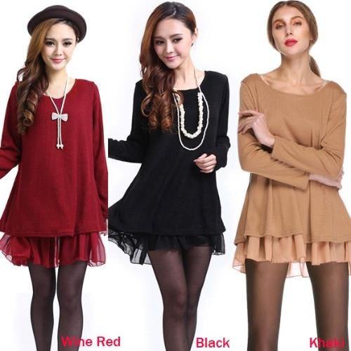 Ladies Pregnant Long Sleeve Knit Wool Bowknot Tops Mini Loose dress 3 Colors