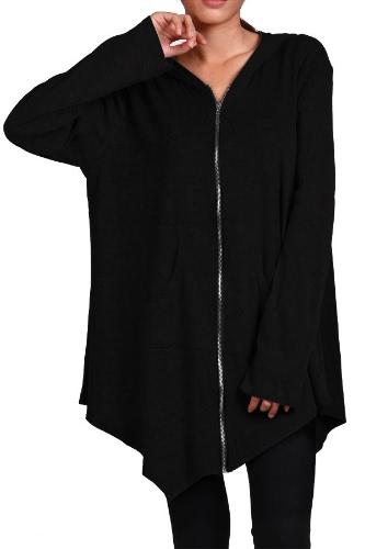 New Women irregular Zip Long Hoodie Jacket Coat cape