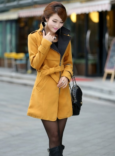 New Women's Super Stylish Wool Blend Warm Long Coat Jacket Belt Overcoat