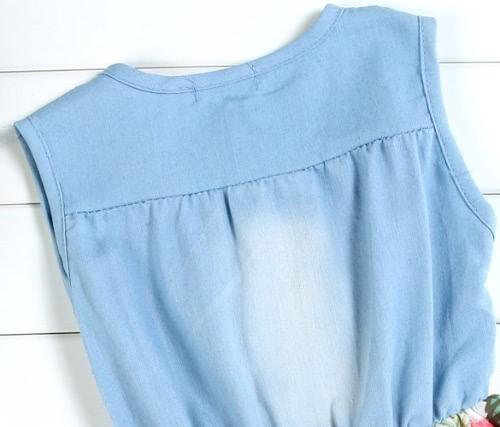 Children's Baby Girls Denim Splicing Floral Dress Sleeveless Cotton Dresses