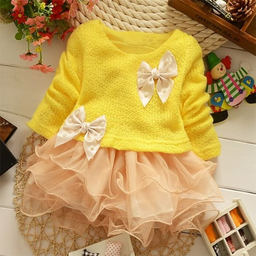 Baby Girls Princess Toddlers Lace Bowknot Party Dresses Kids Flower Dress clothes