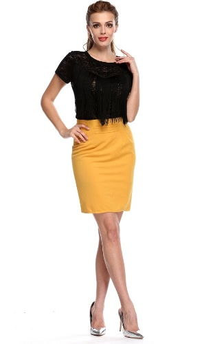Stylish Lady Sexy Women's Casual Solid Zipper Bodycon Short Skirt