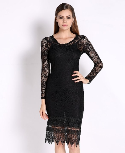 Autumn Lace Dresses Woman Long Sleeve Black Hollow Out Elegant Flower Print Dress Midi O Neck Fashion Women Clothes