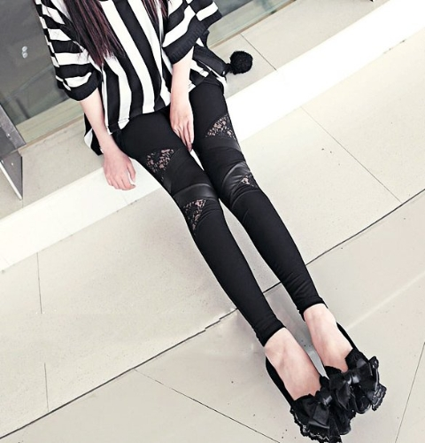 Fashion Womens Synthetic Leather Lace Matching Stretch Skinny Pants Tights Leggings Black
