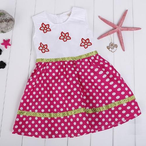 Fashion Girls Polka Dot Sundress Flower Embroidered Tank Dress