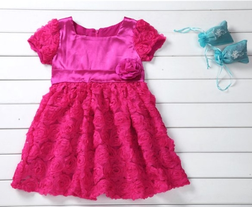 Fashion Baby Girls Flower Patchwork Dress High Waist Short Sleeve Party Dress
