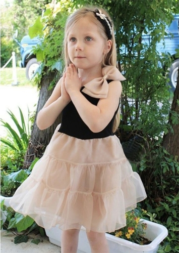 Baby Kids Girls Children's Wear Sleeveless Bowknot Casual Fancy Dress