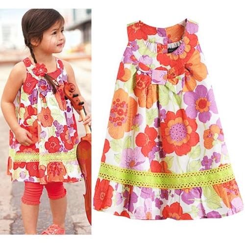 Stylish kids Girls New Fashion Sleeveless O-neck Print Tank Dress