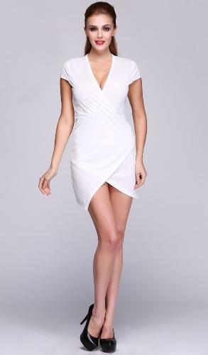 Women Fashion Short Sleeve Ladies Asymmetric Casual Dress White Elegant Dresses Bodycon Pencil Short Mini Dress