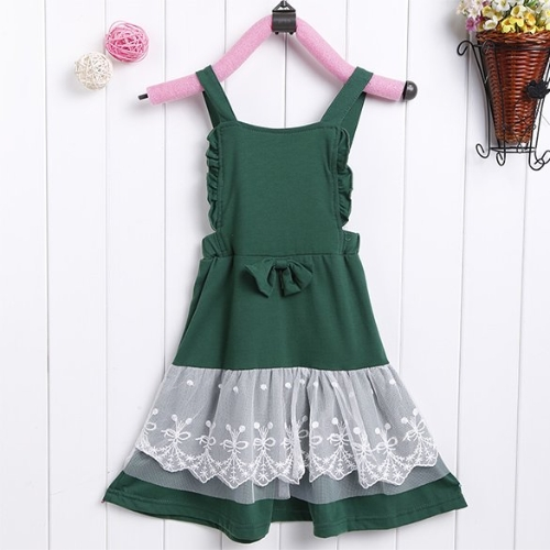 Baby Girl Kids Children's Wear Sleeveless Lace Bowknot Overalls Dresses Costumes Fancy Dress