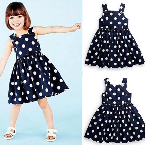 Baby Kids Children Girl's Wear Sleeveless Zipper Dots Casual Swing Dress