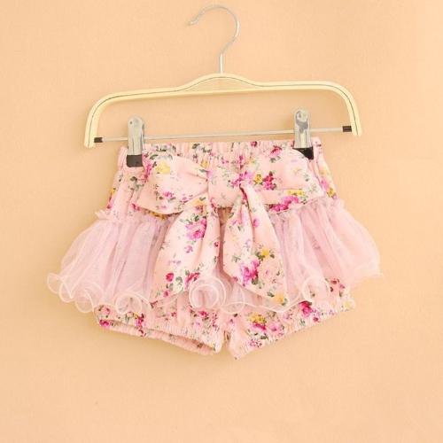 Verano niños niñas flor impresión Bowknot Shorts Culottes cortos malla lindo