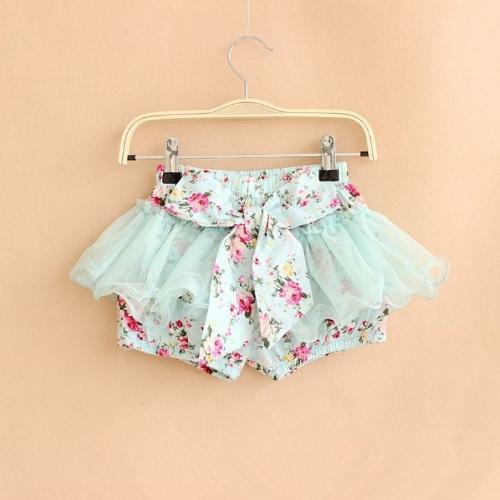 Sommer-Kid Girls Flower Print Bowknot kurz hübsch Mesh kurze Kniehose