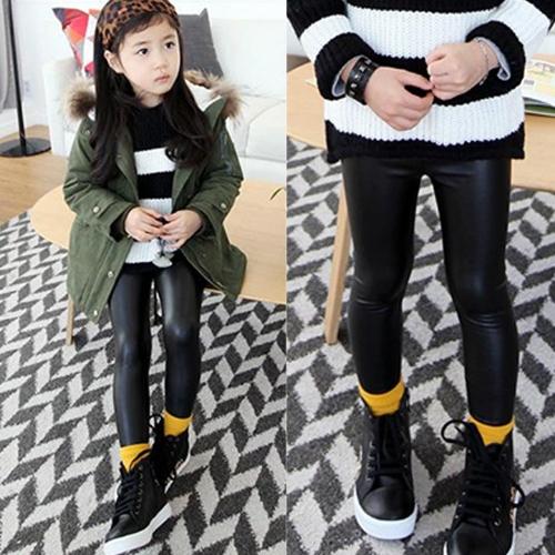 Hot Fashion Girl Kids Children Synthetic Leather Skinny Pants Stretch Tight Full Length Leggings