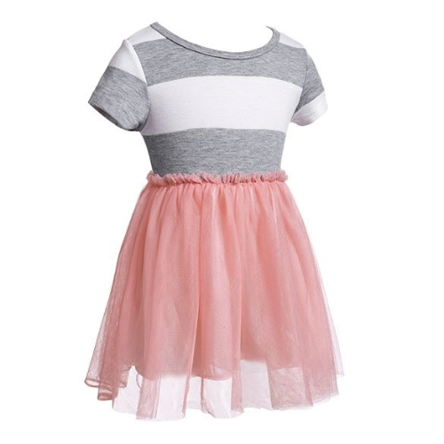 Baby Girl Kids Children's Fashion Net Yarn Striped Patchwork Lined Short Sleeve Dress