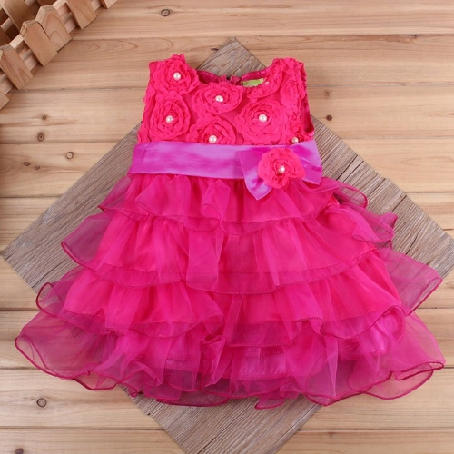 Baby Girl Kids Children's Clothing Dress With Bow Party Yarn Style Flower Layered Dress