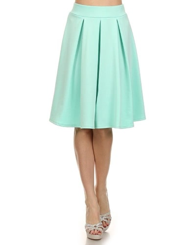 Fashion Women High Waist Pure Color Knee Length Casual Party Pleated Skirt