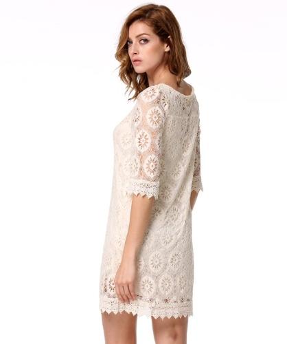 New Stylish Lady Women's Fashion Three-quarter Sleeve O-Neck Sexy Lace Slim Dress