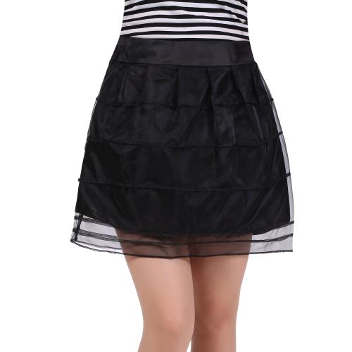 Women Lace Skirt Korean Style Ladies Solid Organza Mini Skirt
