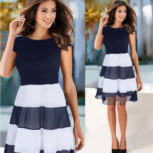 Elegant Women Stripe A Line Patchwork Cocktail Casual Party Dress