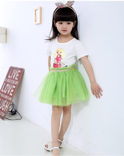 Korean Style Fashion New Baby Kids Girl Elastic Waist Children Mesh Skirt