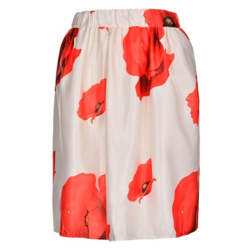 Fashion Women Ladies High Waist Slim Floral Pleated Party Midi Skirt