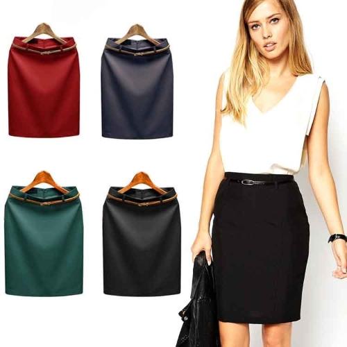 Fashion Women High Waist Solid Pencil Skirt Ladies OL Career Slim Skirt